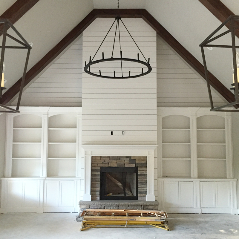 Interior lighting sources for our modern farmhouse our for Modern farmhouse fireplace
