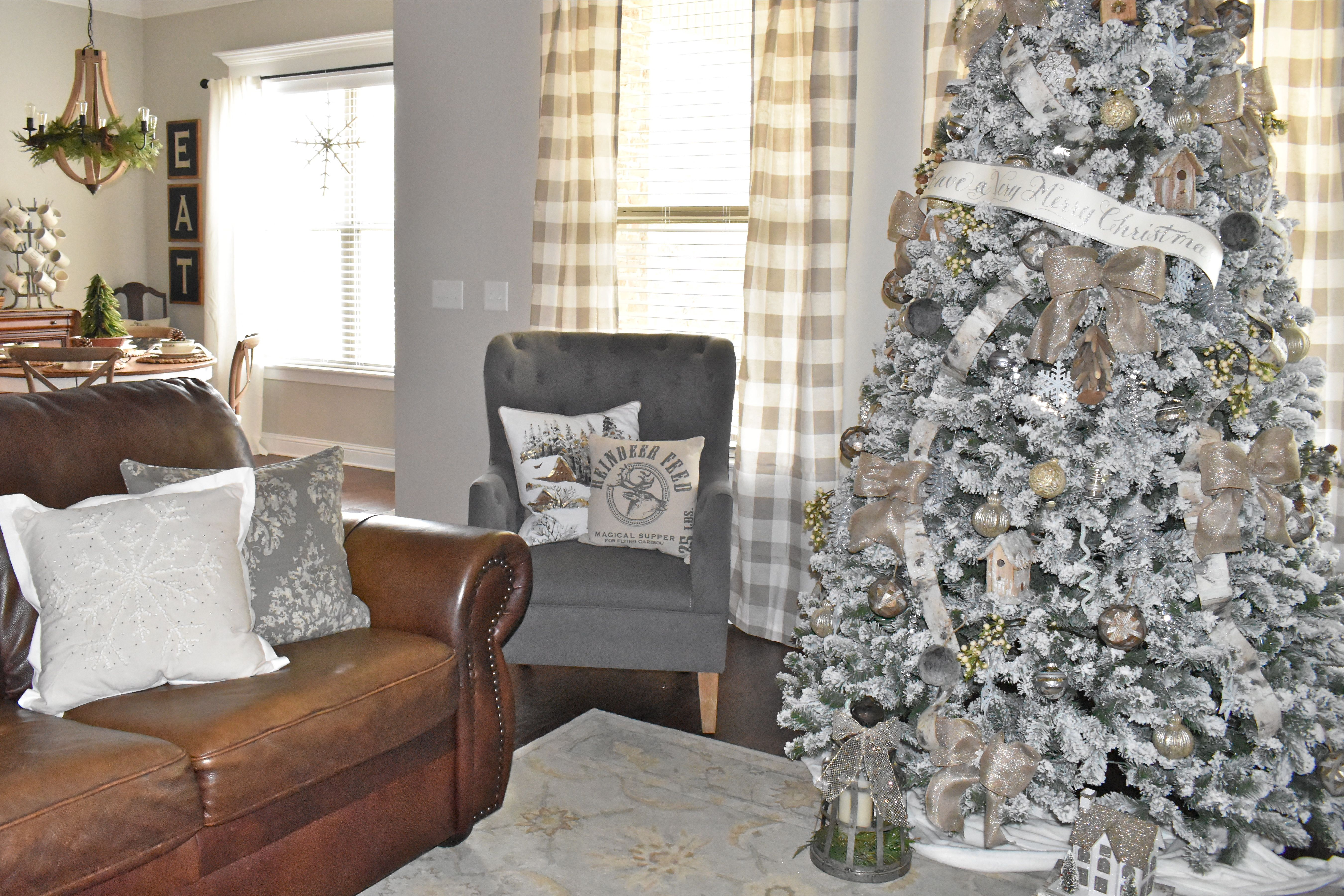 Flocked Christmas Tree And Buffalo Curtains