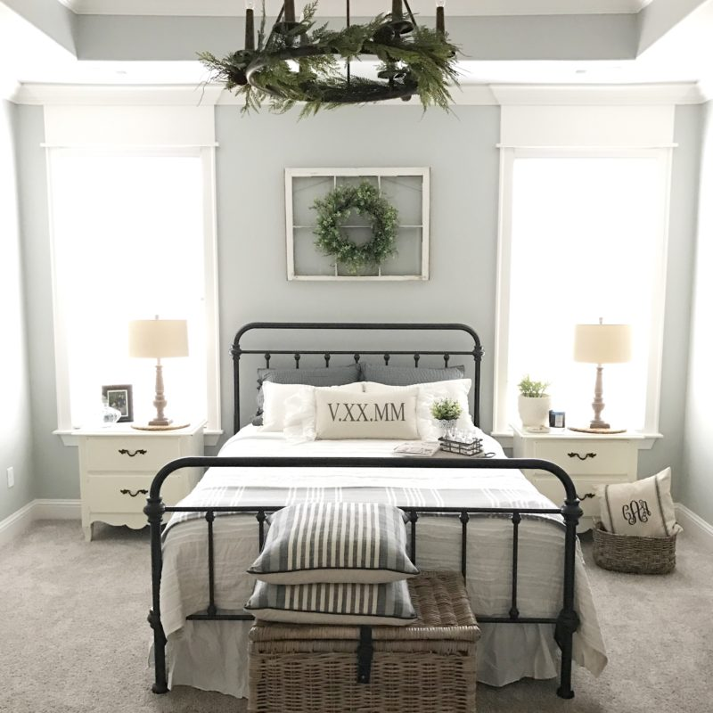Modern farmhouse master bedroom reveal and reasons why i for Farmhouse style bed