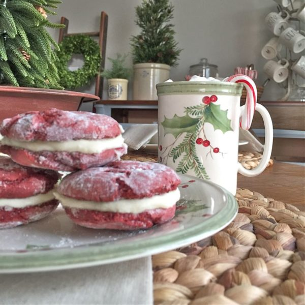 Red Velvet Crinkle Cookies with Cream Cheese Frosting